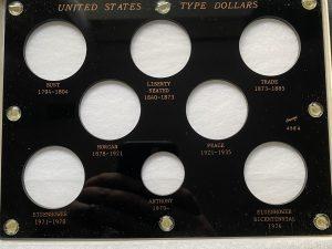 Capitol Plastics United States Type Dollars, Black Coin Holder, 8 Opening, 6″x8″
