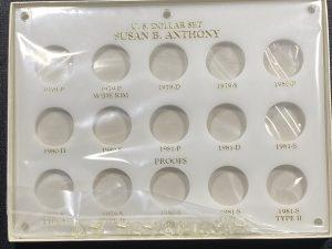 "Quality Plastics United States Susan B. Anthony Dollar Set, White Coin Holder, 15 Opening, 6""x8"""