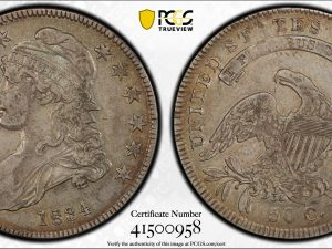 1834 50C Capped Bust Half Dollar PCGS VF35 Small Date, Small Letters